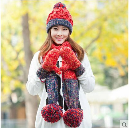 Fashion Multifunctional Autumn and Winter Siamese Lovely Mitten Set Knitted Plush Hat Scarf three-piece fitted one Plush Warm Long Hat Cap Earmuff Gloves Mitten Fluff red ,best for Christmas present Line Walker