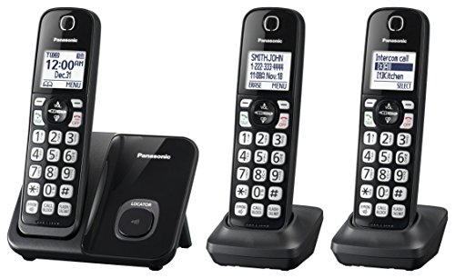 - Panasonic Expandable Cordless Phone System with Call Block and High Contrast Displays and Keypads - 3 Cordless Handsets - KX-TGD513B (Black)