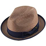 Epoch Men's Classy Travel Crushable 2tone Derby Fedora Upturn Curl Brim Hat L/XL