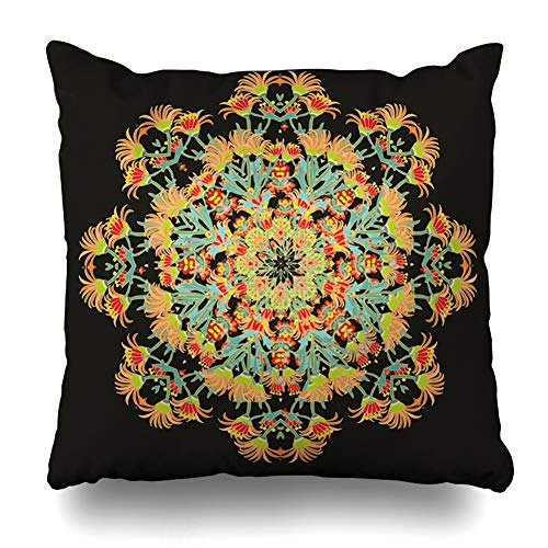 Pandarllin Throw Pillow Cover Flores African Floral Rosette Abstract Ethnic Azulejos Batik Carpet Design Mums Cushion Case Home Decor Design Square Size 20 x 20 Inches Pillowcase