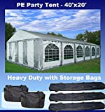 DELTA Canopies 40'x20′ PE Party Tent – Heavy Duty Wedding Canopy Carport Shelter – w Storage Bags – Dual Colors (Grey White) by