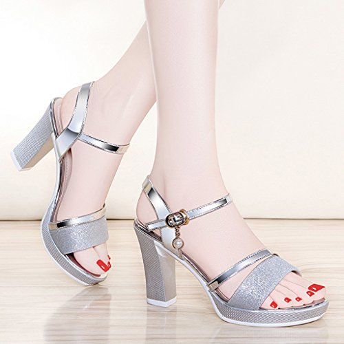 Sandales Couleur Hauts Silver Chaussures Talons femme Femme Silver HWF d'été Taille 37 wXnXpUYZ0