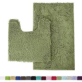 Amazon Com Mk Home 3pc Absorbent Bath Mat Set Solid Sage