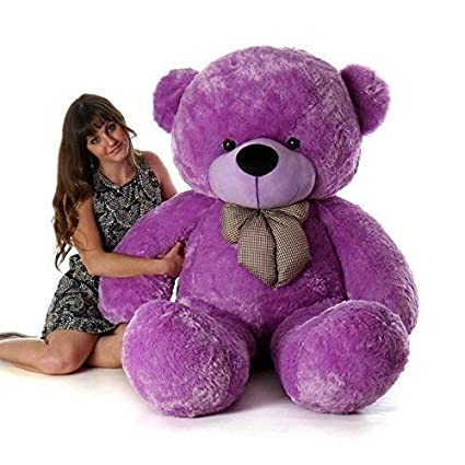 Frantic Teddy Bear with Ribbon Bow Premium Quality Soft Plush Fabric in Purple Color – 5 Feet