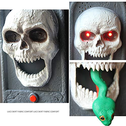 - Halloween Door Decorations Spooky Skull Doorbell with Light Up Eyeball and Scary Sounds Halloween Holiday Party Decoration Devil Haunted House Decor Props Toys Gift