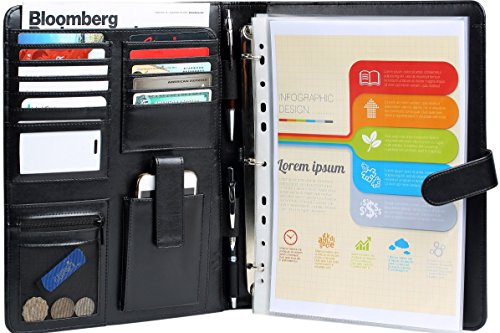 RFID Blocking Leather Planner Binder Sleeves Business Portfolio with Removable 3 Ring Organizer, 2 Pen, Writing Pad, Notebook & Card Holders - Black Folder and Resume Padfolio with Zipper Pocket Case