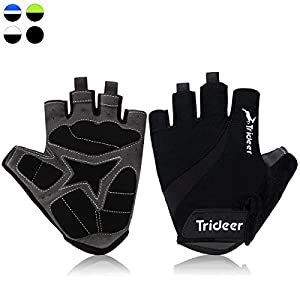 Trideer UltraLight Cycling Gloves (Half Finger) – Breathable Lycra & Anti-Slip Shock - Absorbing Silica Gel Grip, Mountain Road Bike Gloves Men/Women (Black, XL (Fits 8.7-9.5 inches))