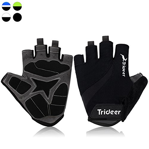 Trideer UltraLight Cycling Gloves (Half Finger) – Breathable Lycra & Anti-Slip Shock – Absorbing Silica Gel Grip, Mountain Road Bike Gloves Men/Women (Black, L (Fits 8.0-8.7 inches))