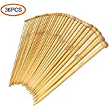 36PCS Bamboo Knitting Needles, Single Pointed Carbonized Knitting Needles, 18 Sizes, 2.0mm-10.0mm, Use for Handmade Creative DIY, 9 Inches Length