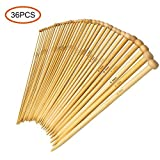 #2: 36PCS Bamboo Knitting Needles, Single Pointed Carbonized Knitting Needles, 18 Sizes, 2.0mm-10.0mm, Use for Handmade Creative DIY, 9 Inches Length