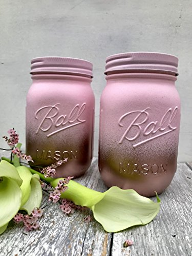 Candle Pint Jar - Set of 2 Rose Gold and Blush Pink Painted Mason Jars Centerpieces, Baby Shower, Rustic Wedding Supplies, Bridal, Shabby Chic Decorations