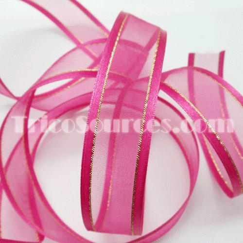Organza Ribbon With Side Gold Line 7/8