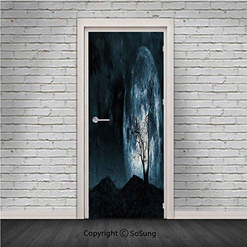 Fantasy Door Wall Mural Wallpaper Stickers,Night Moon Sky with Tree Silhouette Gothic Halloween Colors Scary Artsy Background,Vinyl Removable 3D Decals 30.4x78.7/2 Pieces set,for Home Decor Slate Blue -