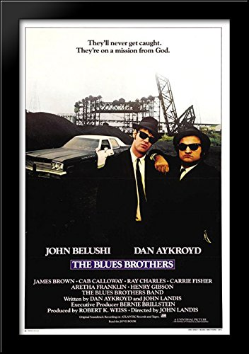 Blues Brothers 28x40 Large Black Wood Framed Print Movie Poster Art by ArtDirect