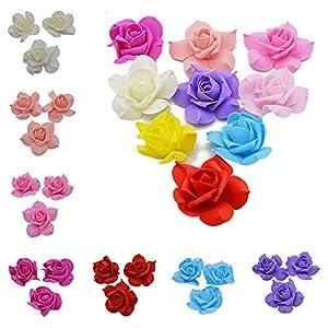 YONGSNOW 100pcs 8cm PE Foam Rose Artificial Flower Heads for DIY Craft Wearth Wedding Party Decoration 50