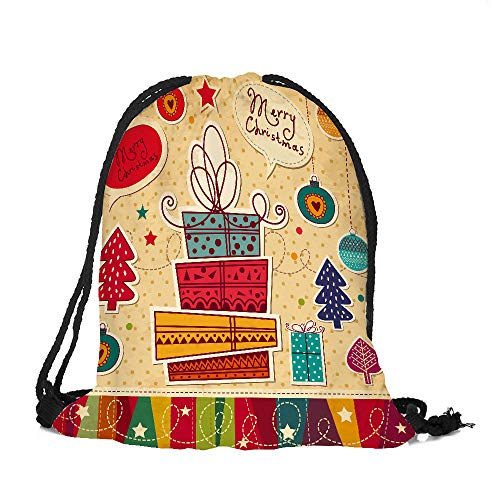 - ✈ HYIRI Big Merry Christmas Candy Bag Pocket Drawstring Bag
