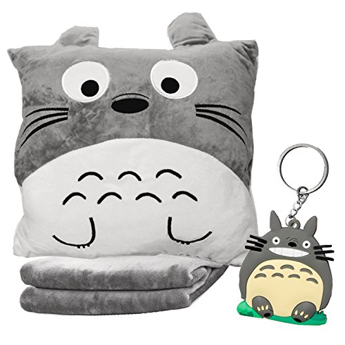 DIYJewelryDepot Neighbor Totoro Pillow w/ Plush Blanket Travel Accessory for Car, Camping, Planes LIFETIME GUARENTEE