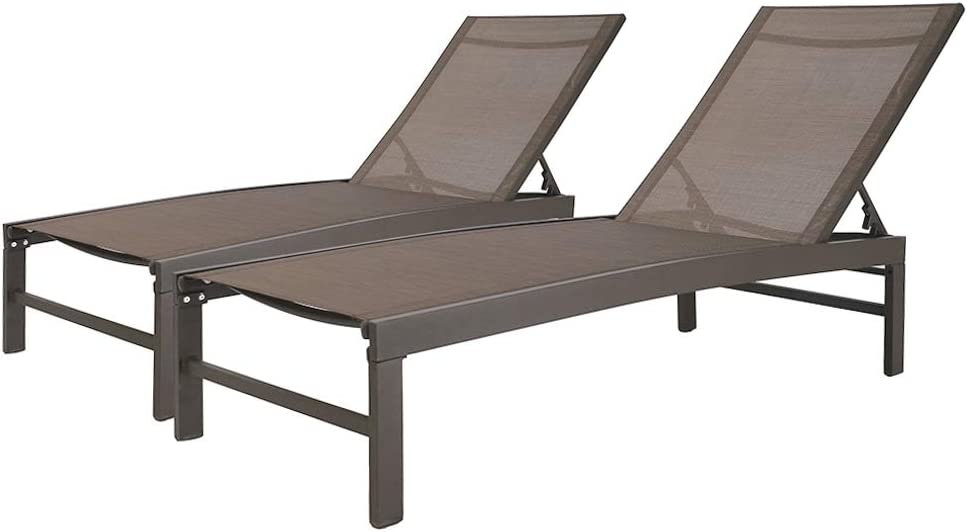 Crestlive Products Aluminum Adjustable Chaise Lounge Chair Outdoor Five-Position Recliner, Curved Design, All Weather for Patio, Beach, Yard, Pool (2PCS Brown)