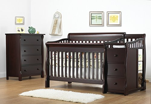 (Sorelle Tuscany 4-in-1 Convertible Crib and Changer Set in Espresso)
