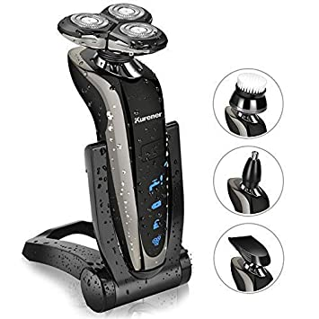 Kurener Electric Shaver Razor Beard Trimmer Rotary Shaver Rotation razor Full body water wash razor Wet Dry Rechargeable Waterproof