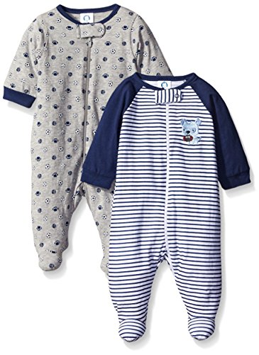 Gerber Baby Boys' 2 Pack Zip Front Sleep 'N Play, Team Sports, 0-3 Months
