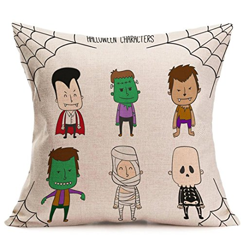 Clearance! Pillowcase,Canserin 2017 Beautiful Happy Halloween Printed Pillow Cases Linen Sofa Cushion Cover Home Decor 18