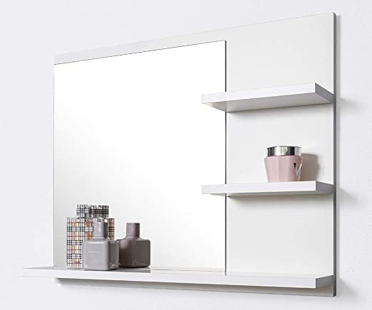 Badezimmerspiegel Ablage.Domtech Badspiegel Mit Ablagen Weiss Badezimmer Spiegel 60 Cm Wandspiegel Badezimmerspiegel Badezimmer Spiegel Amazon De Kuche Haushalt