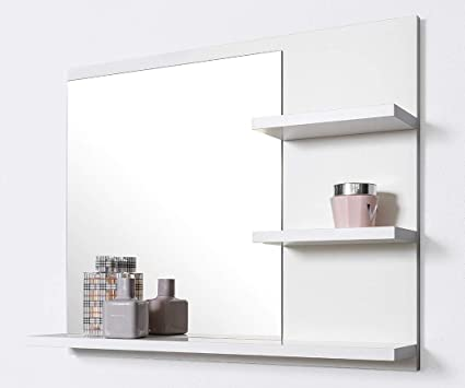 Domtech Bathroom Mirror With Shelves 60 Cm White Wall Mounted