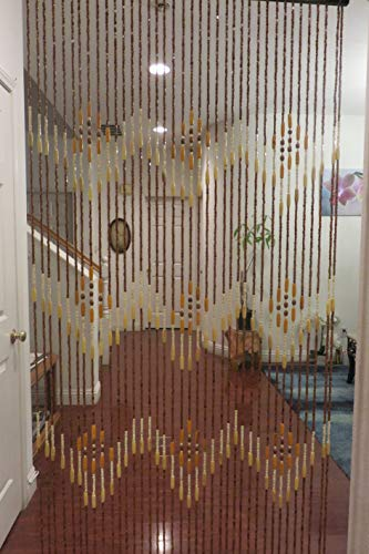 Natural Bamboo & Wood Beaded Curtain, 38 stands W Pattern (Curtains Beaded Door Patio)