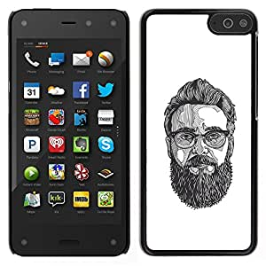 Be-Star Único Patrón Plástico Duro Fundas Cover Cubre Hard Case Cover Para Amazon Fire Phone ( Glasses Art Painting Beard Hipster )