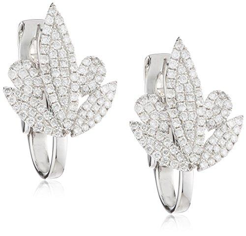 AS29 Boucles d'Oreilles Or Blanc Ronde Diamant Transparent Femme