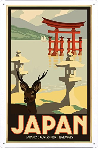 Nature Tin Sign of Retro Vintage Travel Poster Japan Torii Itsukushima (20x30cm) By Scene Painting