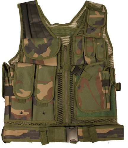 Camo Ultimate Tactical Vest - Ultimate Arms Gear Tactical Woodland Camo Camouflage Lightweight Edition Tactical Scenario Military-Hunting Assault Vest w/Right Handed Quick Draw Pistol Holster