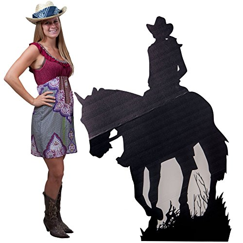 (5 ft. 4 in. Western Cowgirl Horseback Silhouette Standee Standup Photo Booth Prop Background Backdrop Party Decoration Decor Scene Setter Cardboard)