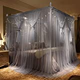 Four Poster Bed King Nattey 4 Corner Poster Princess Bed Curtain Canopy Mosquito Net Canopies (King, Gray)
