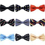 AVANTMEN 9 PCS Pre-tied Adjustable Bowties for Men Mixed Color Assorted Neck Tie Bow Ties (9 Pack, Style 3)