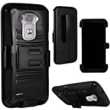 LG G Flex 2 Case, Heavy Duty Tough 3 Piece Layer Combo Hybrid Armor Hard Shell Snap On Exterior and Lightning Soft Silicone Rubber Interior Protector Cover by MEGATRONIC With Kickstand Holster - Black/Black [With FREE Touch Screen Stylus Pen]
