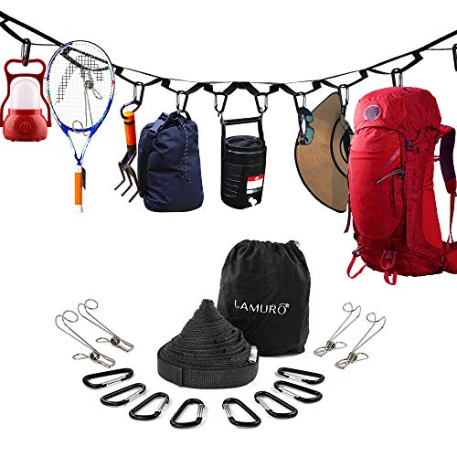 Campsite Storage Strap with 19 Separated Loops for Hanging Camping Equipment, Gear and Supplies | Includes Carabiner Hooks and Clothes Pins | Durable Campground Organizer Holds up to 150 LBS ()