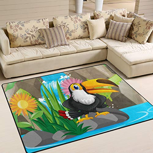 Toucan Bird by The Waterfall Area Rug 5'3'' x 4' Carpet Indoor Polyester Non Slip Multi Rectangle Door Mats Kitchen Floor Runner Decoration for Home Bedroom Living Dining Room