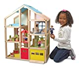 Toys : Melissa & Doug Hi-Rise Wooden Dollhouse With 15 pcs Furniture - Garage and Working Elevator