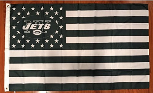 New York Jets Stars & Stripes Banner Flag 3 x 5 feet with grommets for hanging American Football Decor