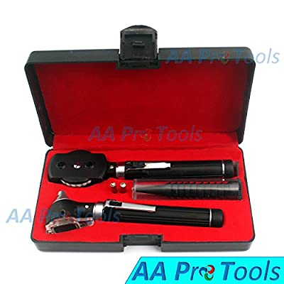 Aa Pro New Led Bright Light Double Handle Otoscope Ent Diagnostic Set + 2 Free Extra Replacement Bulbs A+ Quality