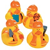 Construction Worker Rubber Ducky Party Favors (2-Pack of 12)