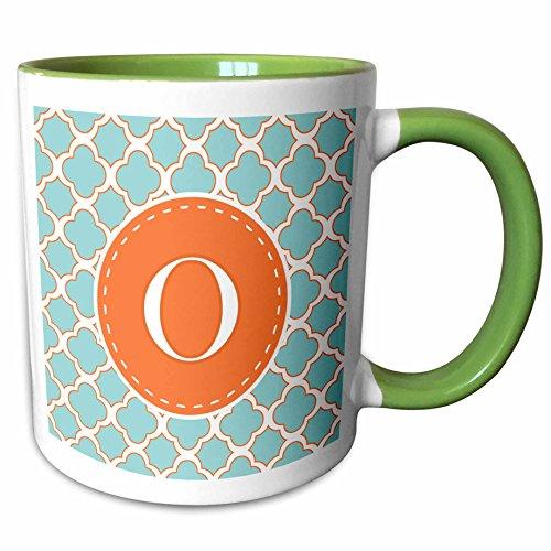 (3dRose Janna Salak Designs Monogram Collection - Letter O Monogram Orange and Blue Quatrefoil Pattern - 15oz Two-Tone Green Mug (mug_210616_12))