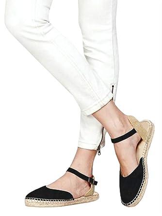 38044d3e4285 Amazon.com  Ermonn Womens Espadrille Flat Sandals Closed Toe Ankle Strap  Buckle D Orsay Flat Shoes  Clothing