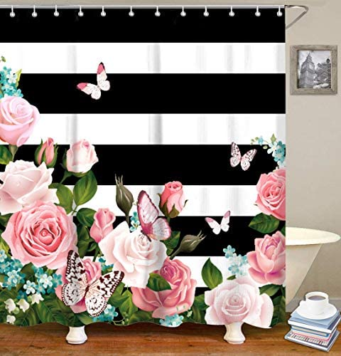 LIVILAN Stripes Curtains Decorative Bathroom product image