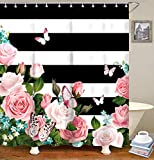 Pink and White Striped Shower Curtain Livilan Black White Stripes Shower Curtain Set with 12 Hooks Fabric Bath Curtains Pink Flowers Decorative Thick Bathroom Curtain 70.8