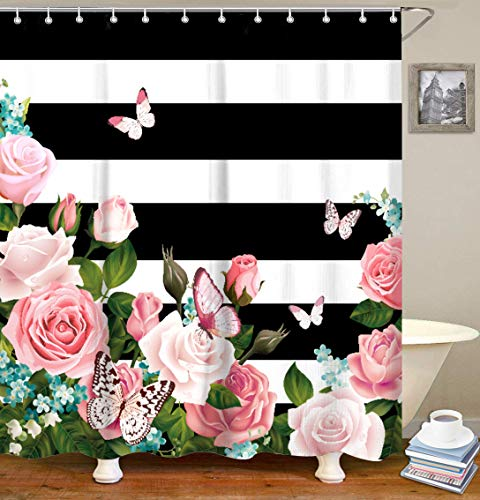 LIVILAN Black and White Stripes Shower Curtain Set with 12 Hooks Fabric Bath Curtains Pink Flowers Decorative Thick Bathroom Curtain 70.8