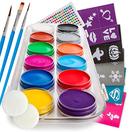 B&E Artt Face Painting Kit for Kids & Adults | Professional Face & Body Paints in 12 Vibrant Colors Safe for Sensitive Skin | 40 Large Stencils, 3 Brushes & 2 Sponge Pads | Bonus Rhinestone Stickers