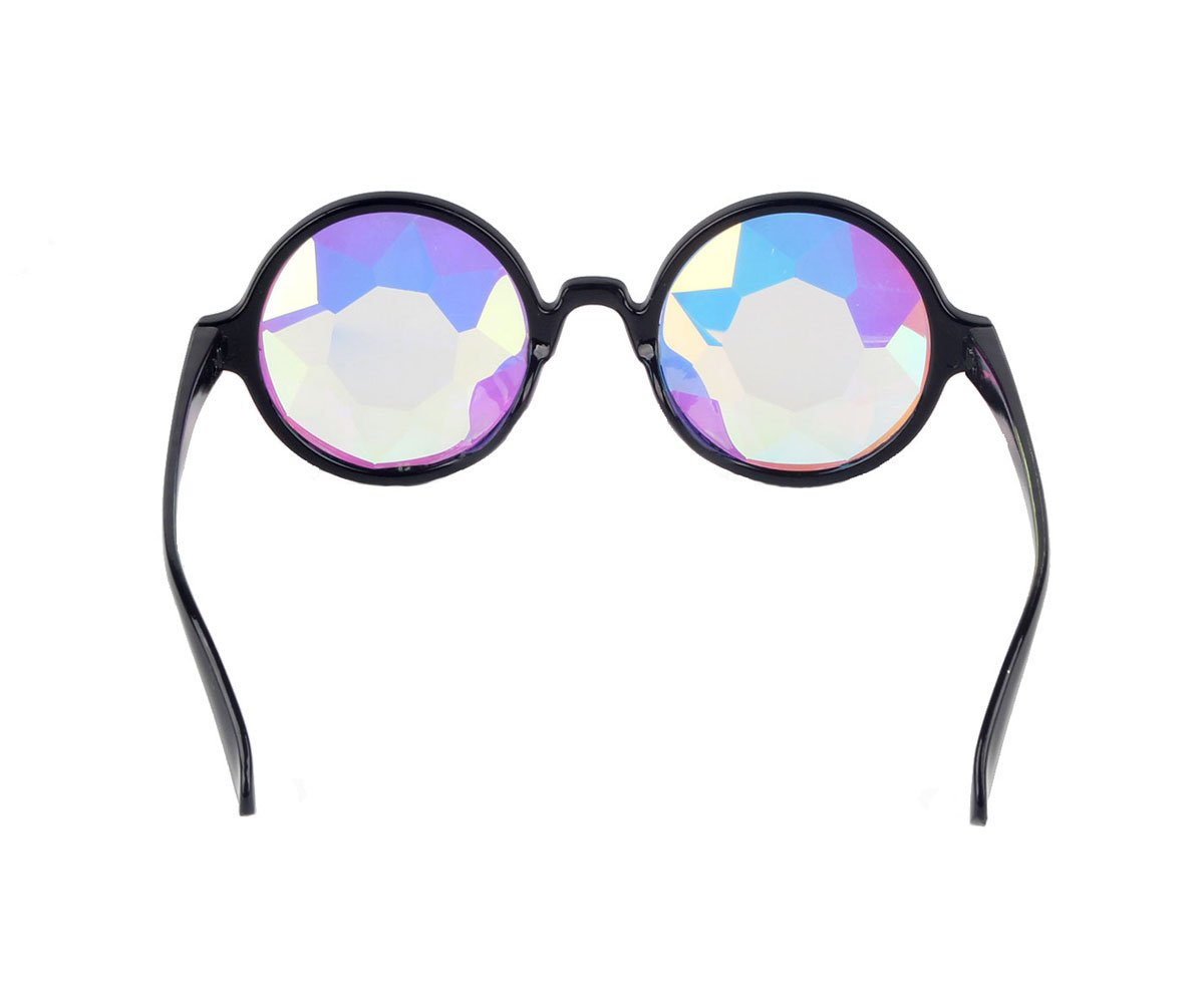 DODOING Festivals Kaleidoscope Glasses For raves - Goggles Rainbow Prism diffraction Crystal Lenses (One Size-Adjustable Head Band, Black+Pink) by DODOING (Image #4)